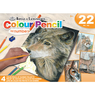Wild Animals Color Pencil by Numbers Kit