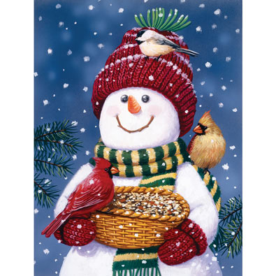 Snowman Bird Feeder 300 Large Piece Jigsaw Puzzle