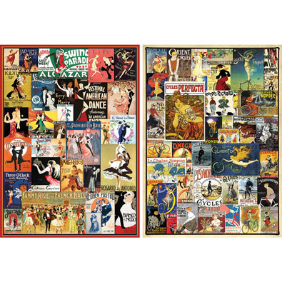 Set of 2: Vintage Poster 1000 Piece Collage Puzzles