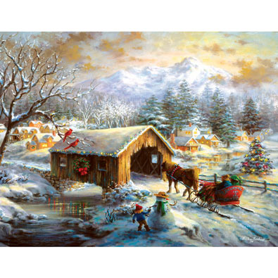 Over the Covered Bridge 500 Piece Jigsaw Puzzle