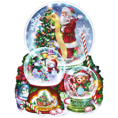 Three Snow Globes 1000 Piece Shaped Jigsaw Puzzle