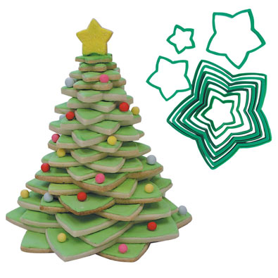 Star and Christmas Tree Cookie Cutter Set