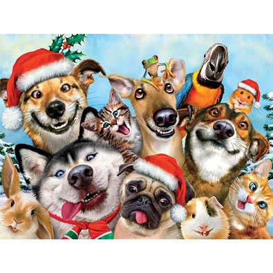 Christmas Doggy Selfie 550 Piece Jigsaw Puzzle