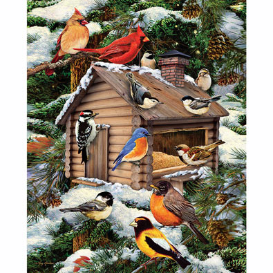 Log Cabin Bird House 1000 Piece Jigsaw Puzzle