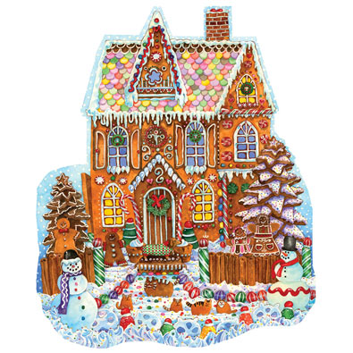 Gingerbread House 1000 Piece Shaped Jigsaw Puzzle
