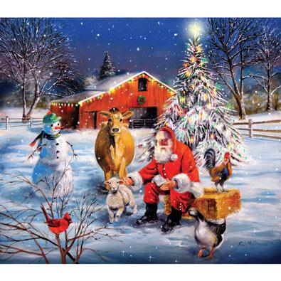 Santa at the Farm 300 Large Piece Jigsaw Puzzle