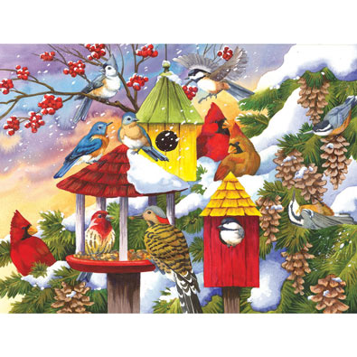 Meeting at the Birdfeeder 300 Large Piece Jigsaw Puzzle