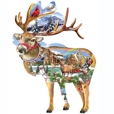 Reindeer Training 800 Piece Shaped Jigsaw Puzzle
