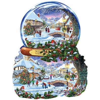 Winter Village Snow Globe 1000 Piece Shaped Jigsaw Puzzle
