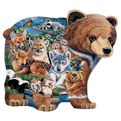 Forest Friends Shaped Bear 100 Large Piece Jigsaw Puzzle