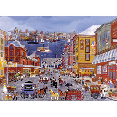 Market Days on Fulton Street 300 Large Piece Jigsaw Puzzle