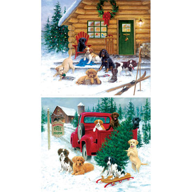 Set of 2: Jim Killen Holiday 550 Piece Jigsaw Puzzles