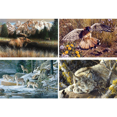 Set of 4: Wildlife 750 Piece jigsaw Puzzles