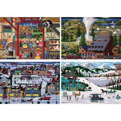 Set of 4: Heronim 300 Large Piece Jigsaw Puzzles
