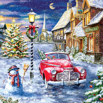 A Red Car for Christmas 500 Piece Jigsaw Puzzle
