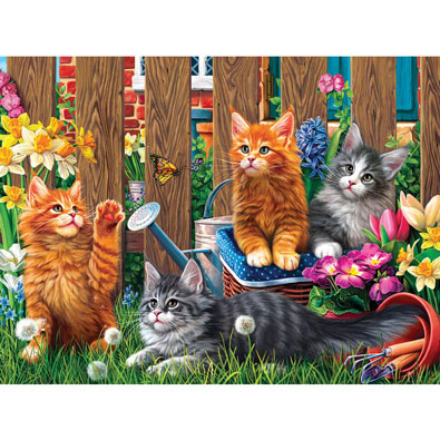 Kittens in the Garden 300 Large Piece Jigsaw Puzzle