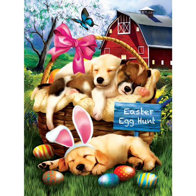 Sleepy Easter Hunters 300 Large Piece Jigsaw Puzzle