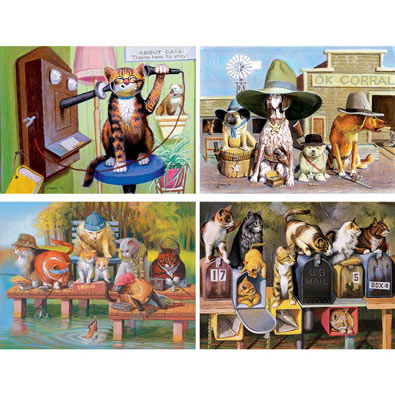 Set of 4: Bryan Moon 300 Large Piece Jigsaw Puzzles
