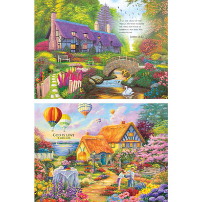 Set of 2: Inspirational 300 Large Piece Jigsaw Puzzle