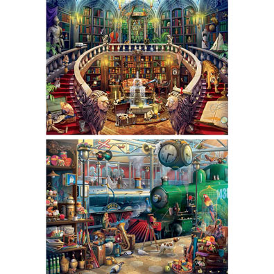 Set of 2: Seek & Find 1000 Piece Jigsaw Puzzles