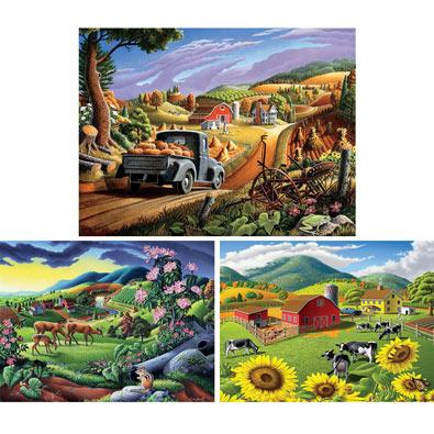 Set of 3: Walt Curlee 550 Piece Jigsaw Puzzles