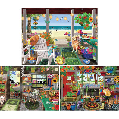 Set of 3: Tracy Flickinger 300 Large Piece Jigsaw Puzzles