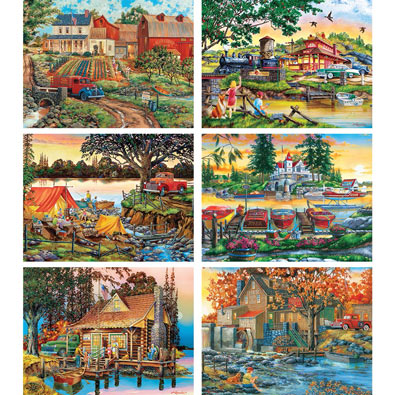 Set of 6: William Kreutz 300 Large Piece Jigsaw Puzzles