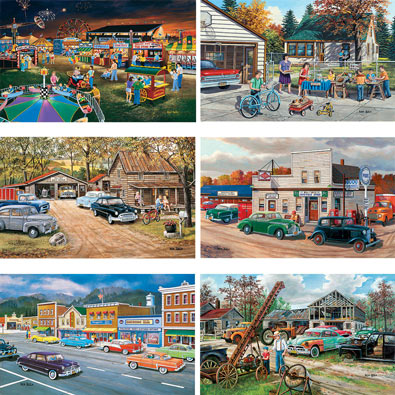 Set of 6: Ken Zylla 300 Large Piece Jigsaw Puzzles