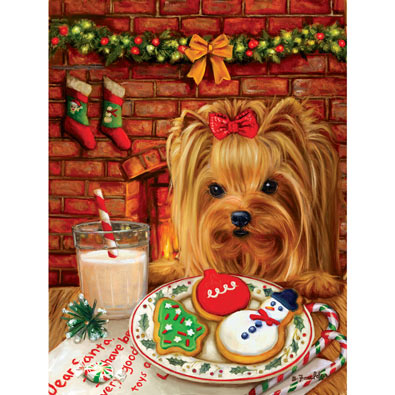 Sharing Cookies with Santa 300 Large Piece Jigsaw Puzzle