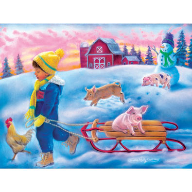 Snow Day on the Farm 300 Large Piece Jigsaw Puzzle