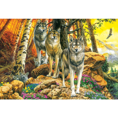 Wolf Mother and Cubs 500 Piece Jigsaw Puzzle