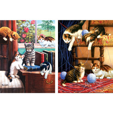 Set of 2: Kevin Walsh Kitty Mischief 500 Piece Jigsaw Puzzles
