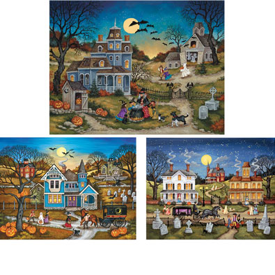 Set of 3: Bonnie White 300 Large Piece Halloween Jigsaw Puzzles