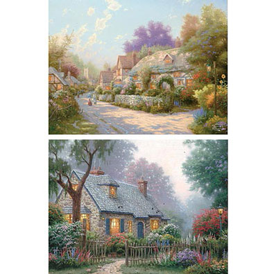 Set of 2: Thomas Kinkade Hidden Messages 750 Piece Jigsaw Puzzle