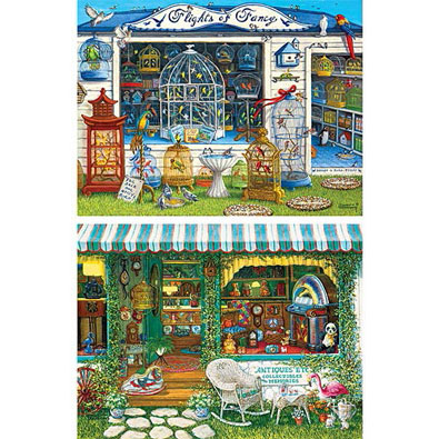 Set of 2: Janet Kruskamp VintageStorefront 750 Piece Jigsaw Puzzle
