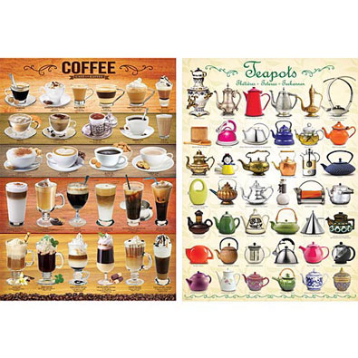 Set of 2: Coffee and Teapots 1000 Piece Jigsaw Puzzle