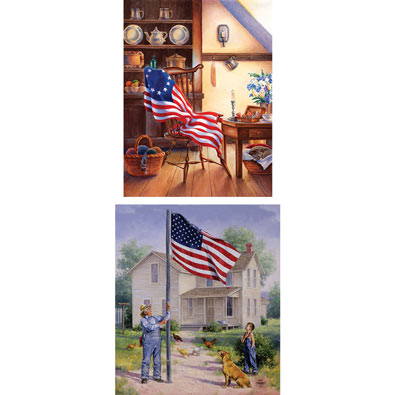 Set of 2: Betsy's Flag and American Pride Jigsaw Puzzles