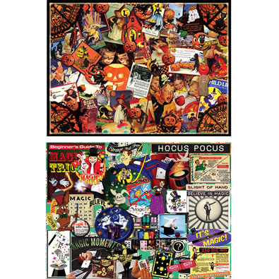 Set of 2: Halloween 1000 Piece Collage Jigsaw Puzzles