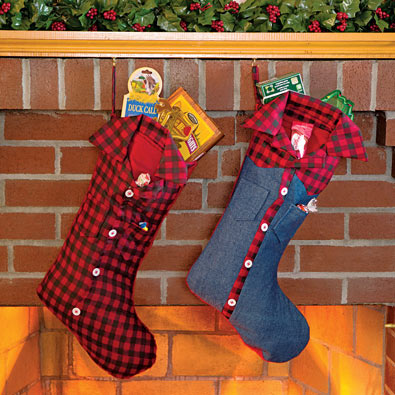 Redneck Christmas Stockings - Red Plaid