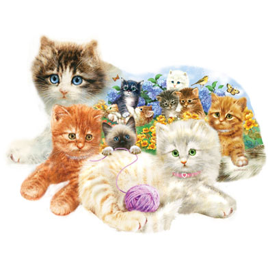A Litter of Kittens 1000 Piece Shaped Jigsaw Puzzle