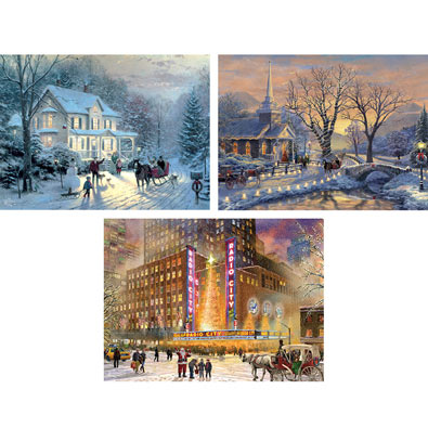 Set of 3: Thomas Kinkade 1000 Piece Jigsaw Puzzles