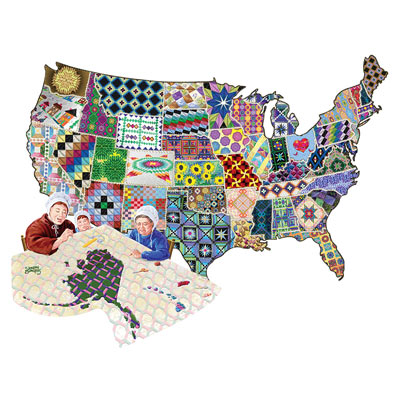 American Quilt 600 Piece Shaped Jigsaw Puzzle