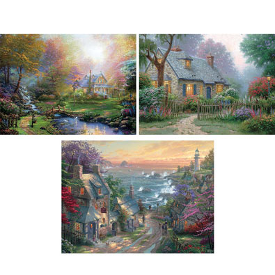 Set of 3: Thomas Kinkade 1000 Piece Jigsaw Puzzles