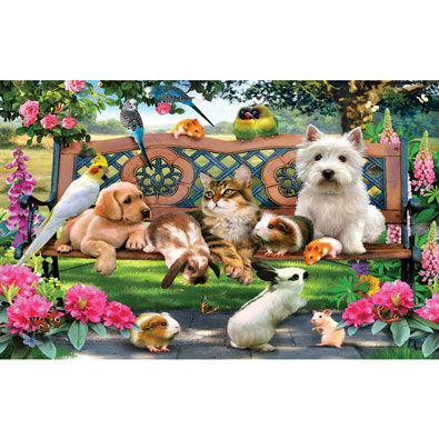 Park Bench Pals 100 Large Piece Jigsaw Puzzle