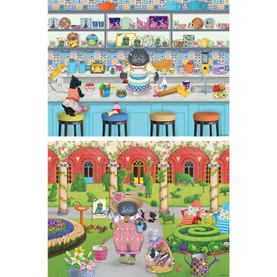 Set of 2: Gigi the Cat 300 Large Piece Jigsaw Puzzles
