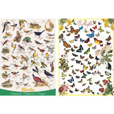 Set of 2: Birds and Butterflies 1000 Piece Jigsaw Puzzles