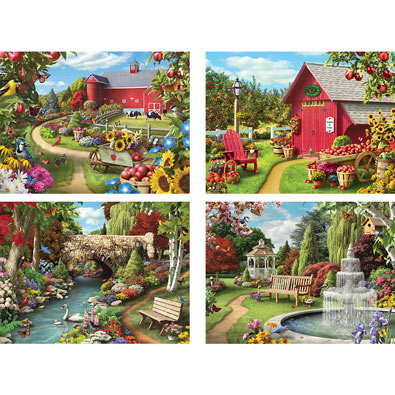 Set of 4: Alan Giana 300 Large Piece Jigsaw Puzzle