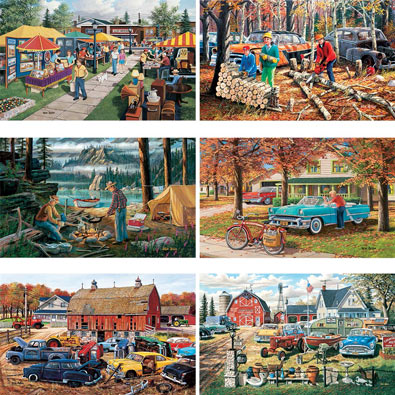 Set of 6: Ken Zylla 300 Large Piece Jigsaw Puzzle