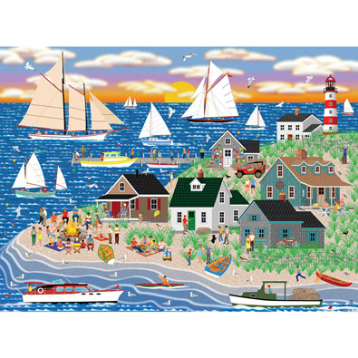 Beach Bonfire Gathering 500 Piece Jigsaw Puzzle