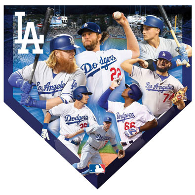 MLB Home Plate Shaped Jigsaw- Dodgers